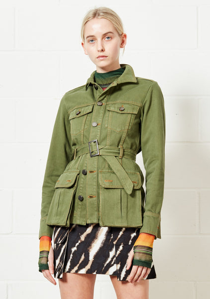 Denim Belted Safari Jacket