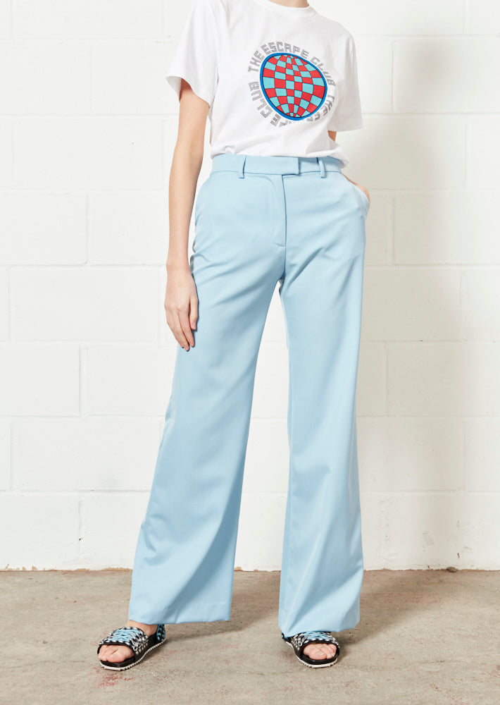 Pale Blue Wide Leg Trouser