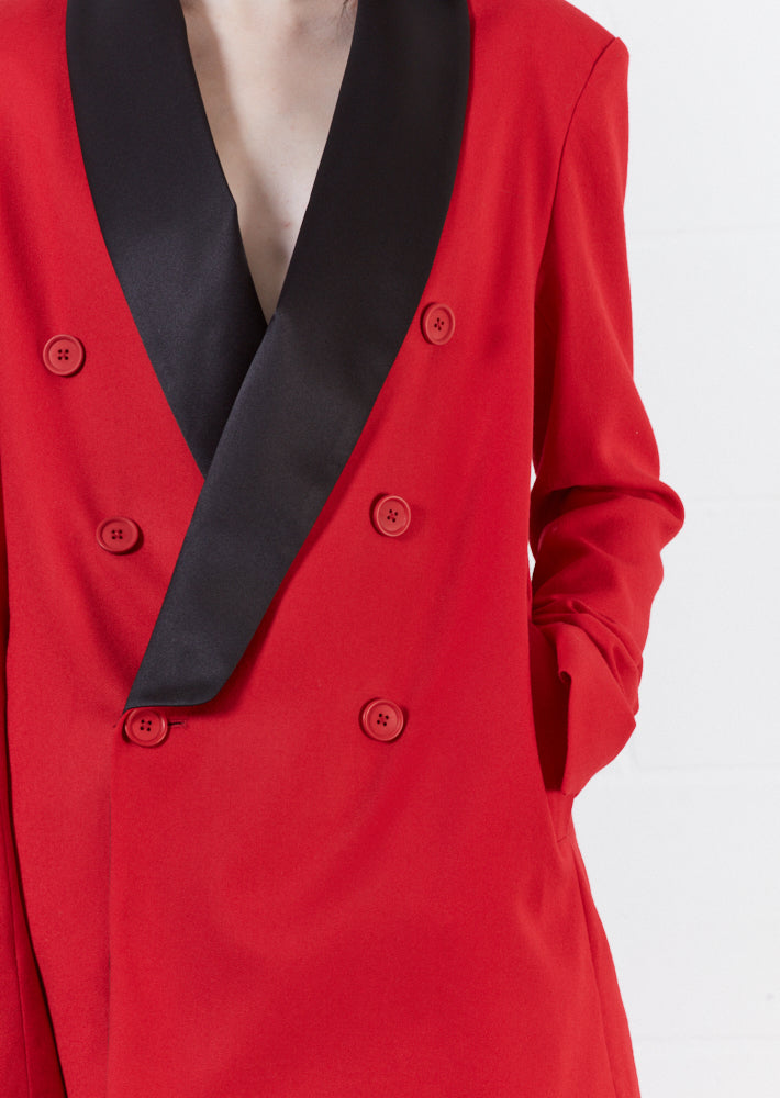 Wool Red Double Breasted Suit Jacket