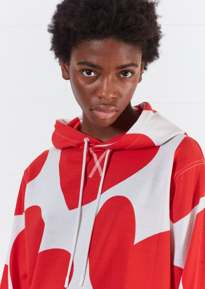 Merino Wool Red And White Large Heart Print Hoodie