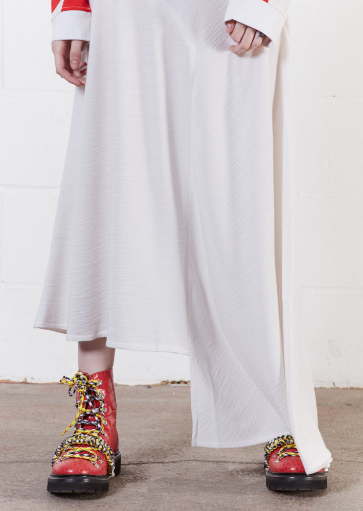 Merino Wool White Asymmetric Skirt