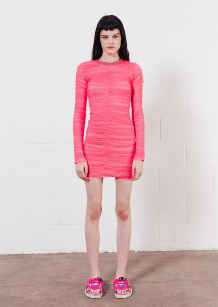 Gathered Tulle Mini Dress (Vivid Pink)