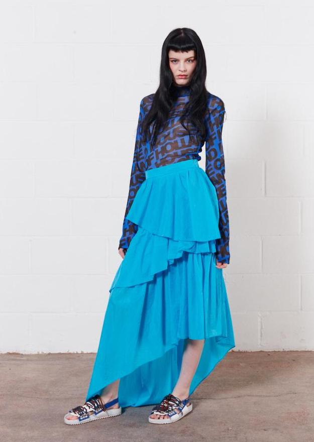 Frilled Riptstop Midi Skirt (Vivid Blue)