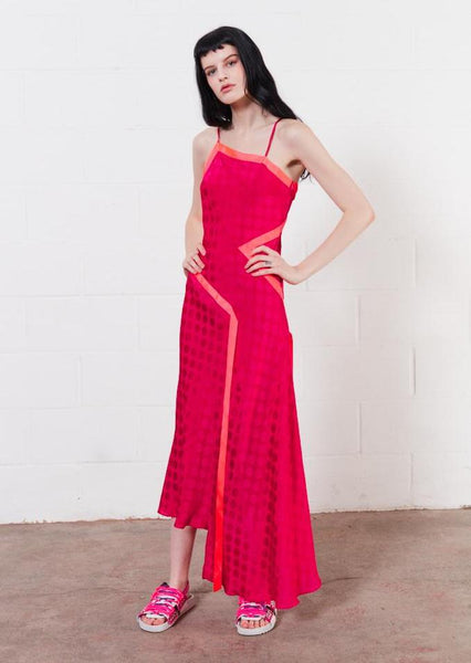 Vivid One Shoulder Slip Dress (Fuchsia)