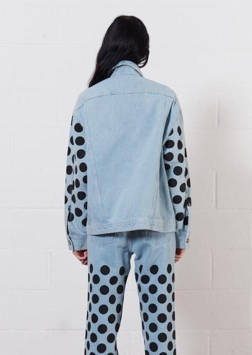 Light Blue Black Spot Denim Jacket