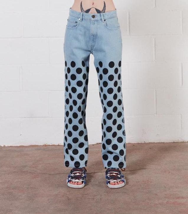 Light Blue Black Spot Denim Jeans