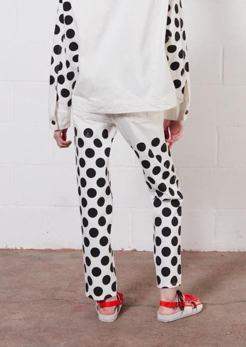 Black Spot White Denim Jeans