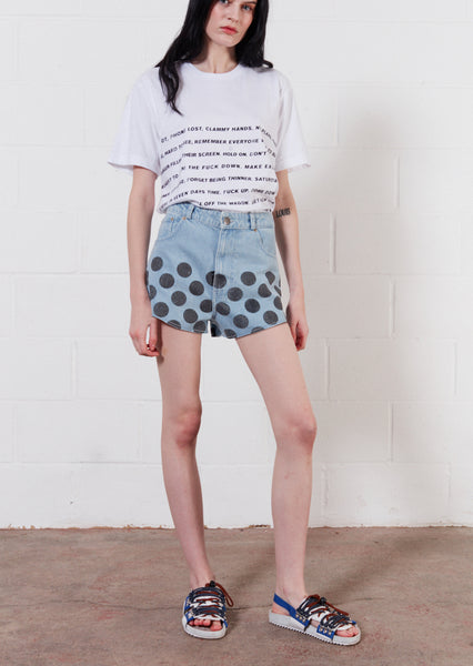 Light Blue White Spot Denim Shorts
