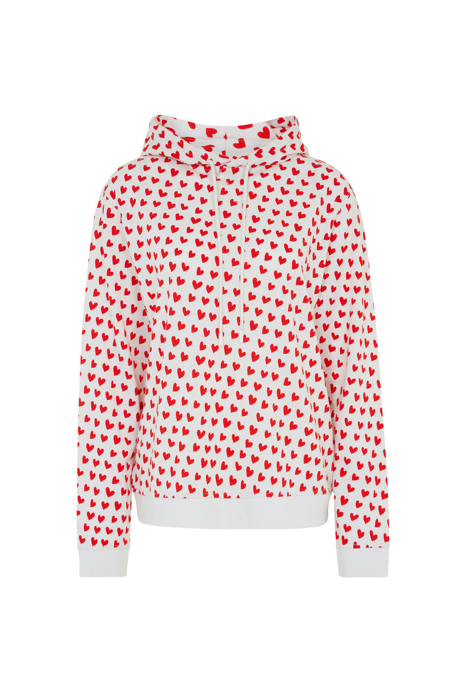 Merino Wool Red And White Heart Print Hoodie