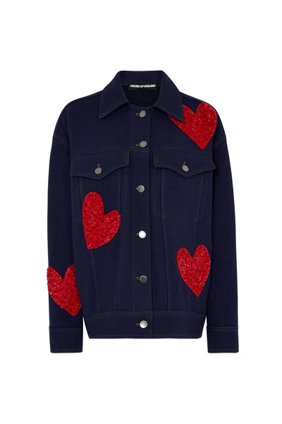 Wool Denim Oversized Heart Jacket