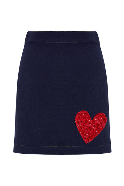 Wool Denim Skirt With Embellished Heart