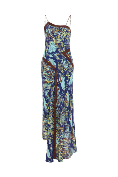Snake Print One Shoulder Slip Dress