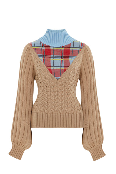 Camel Cable Knit With Tartan Teardrop