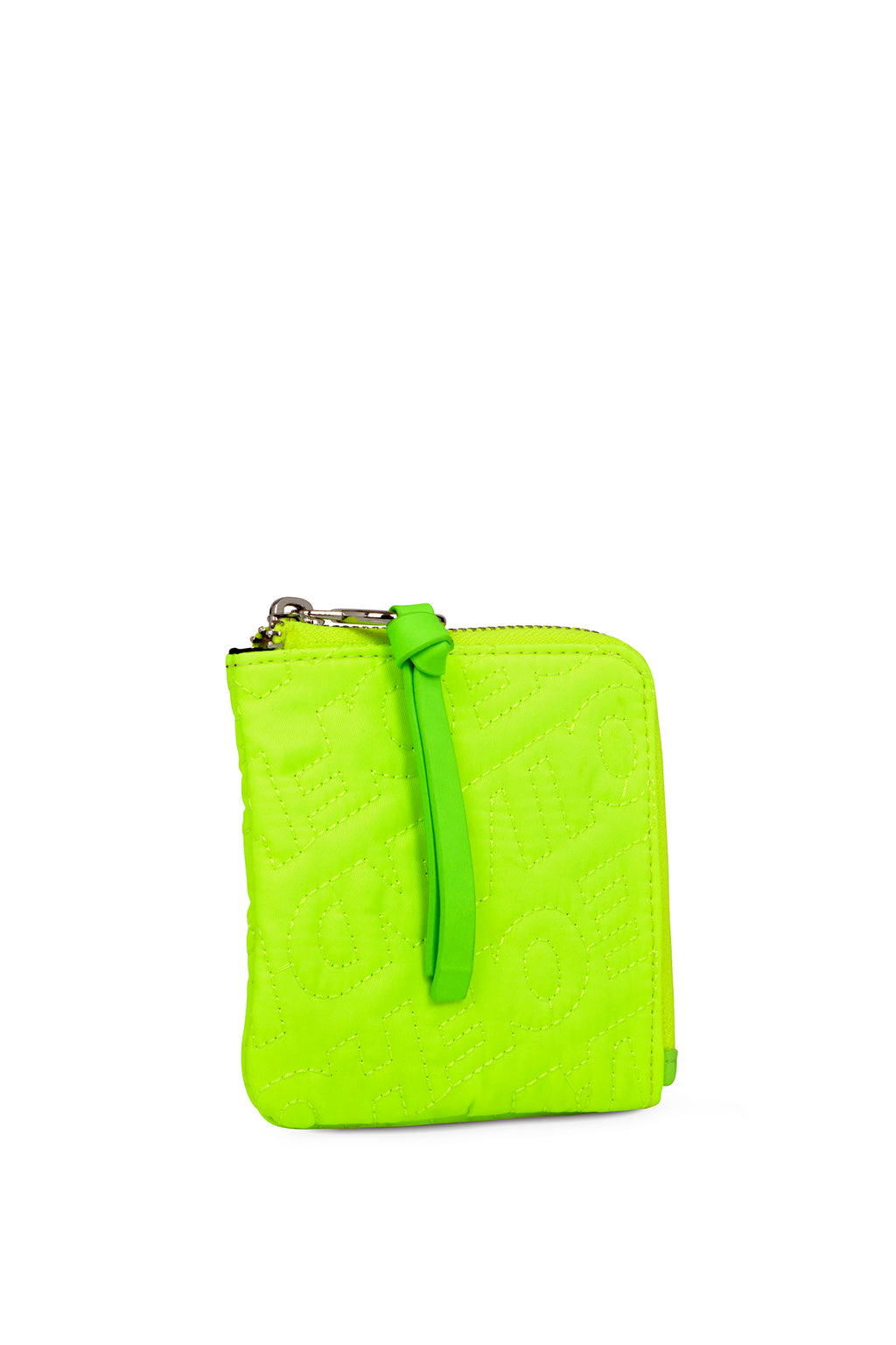 'HOH' Neon Green Embroidered Zip Wallet