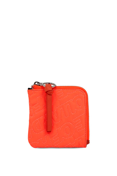 'HOH' Neon Orange Embroidered Zip Wallet