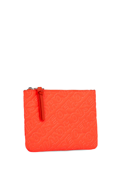 'HOH' Pochette Brodée Orange Néon