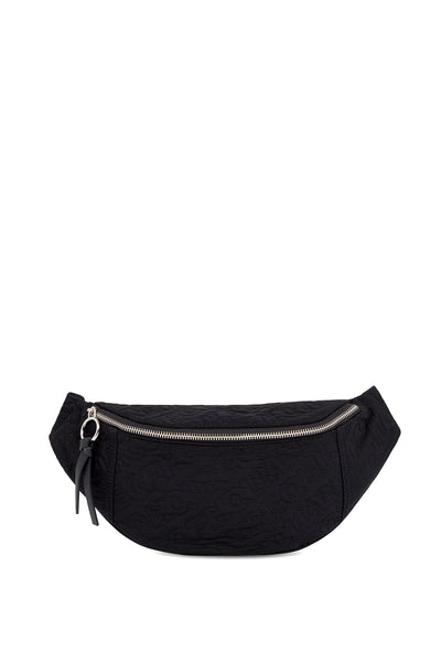 'HOH' Black Embroidered Belt Bag