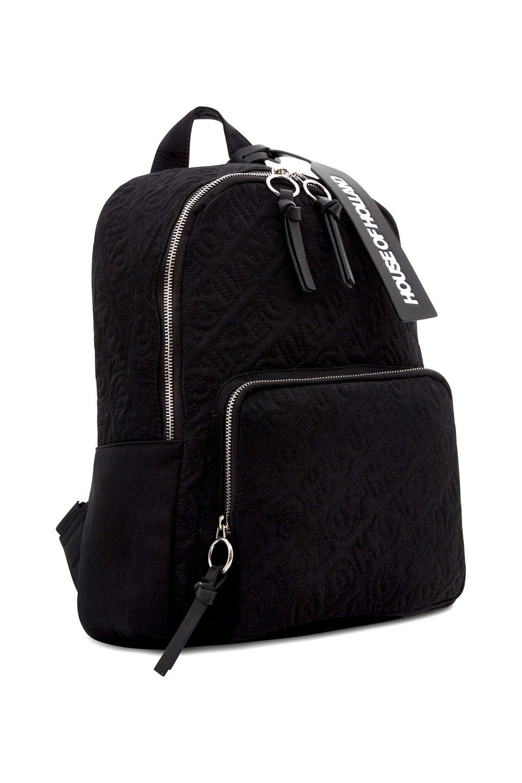 'HOH' Black Embroidered Backpack