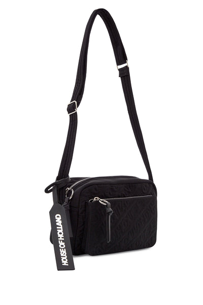 'HOH' Black Cross Body brodé