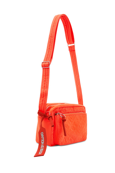 'HOH' Cross Body brodé orange fluo