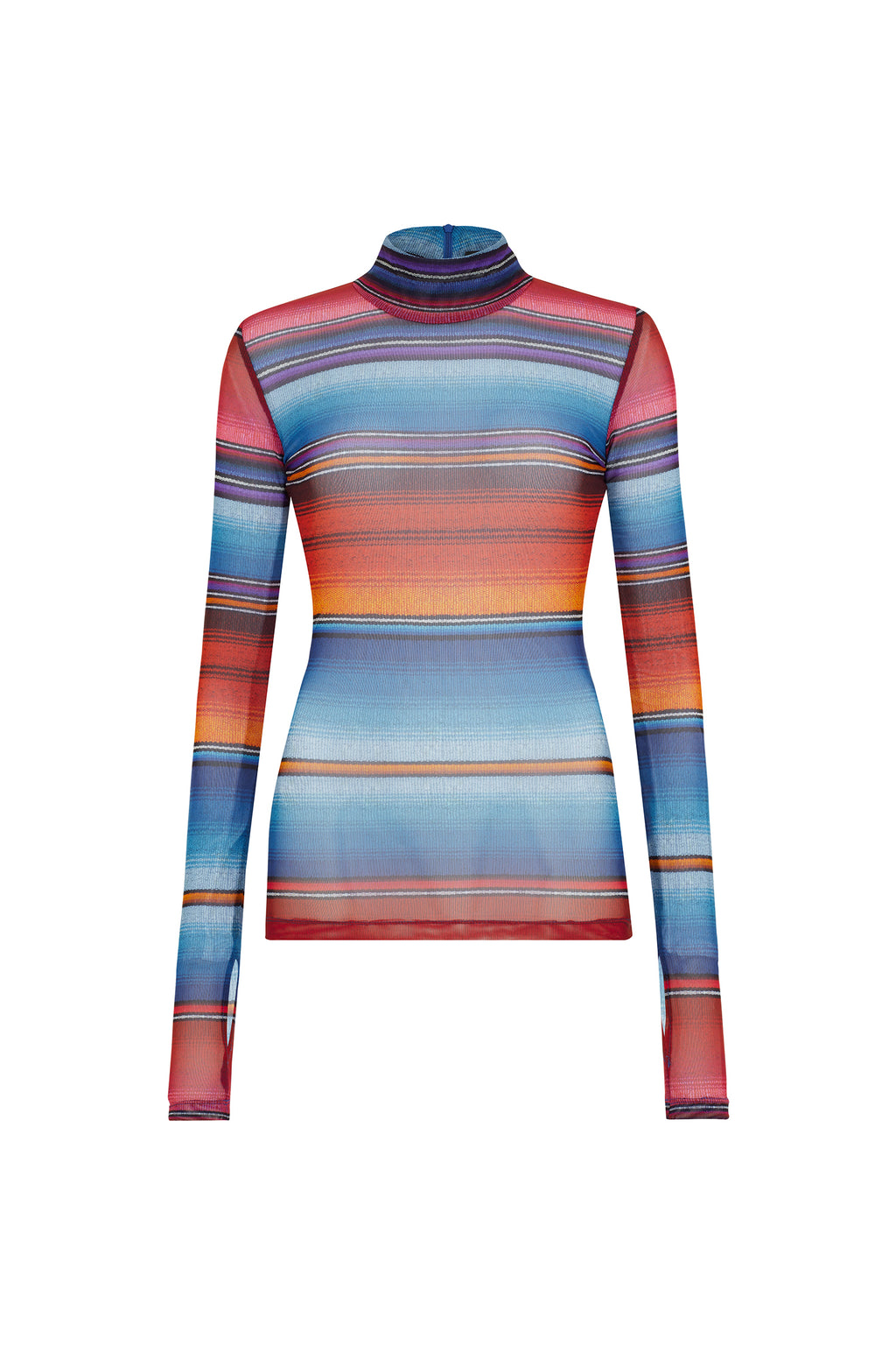 Sunset Mesh Stripe Langarmshirt