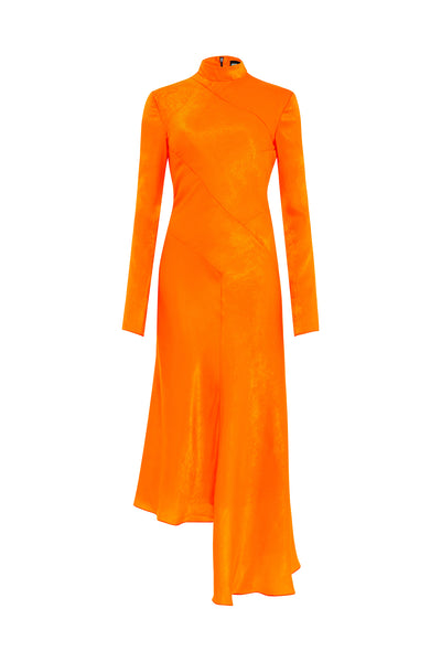 Orange Bias Twist Kleid