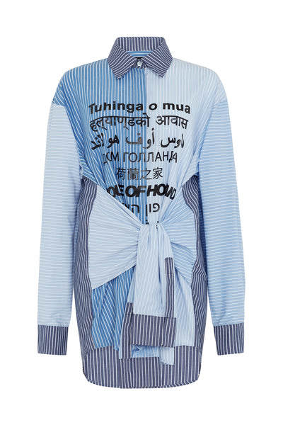 Blue Multi-Lingual Stripe Shirt