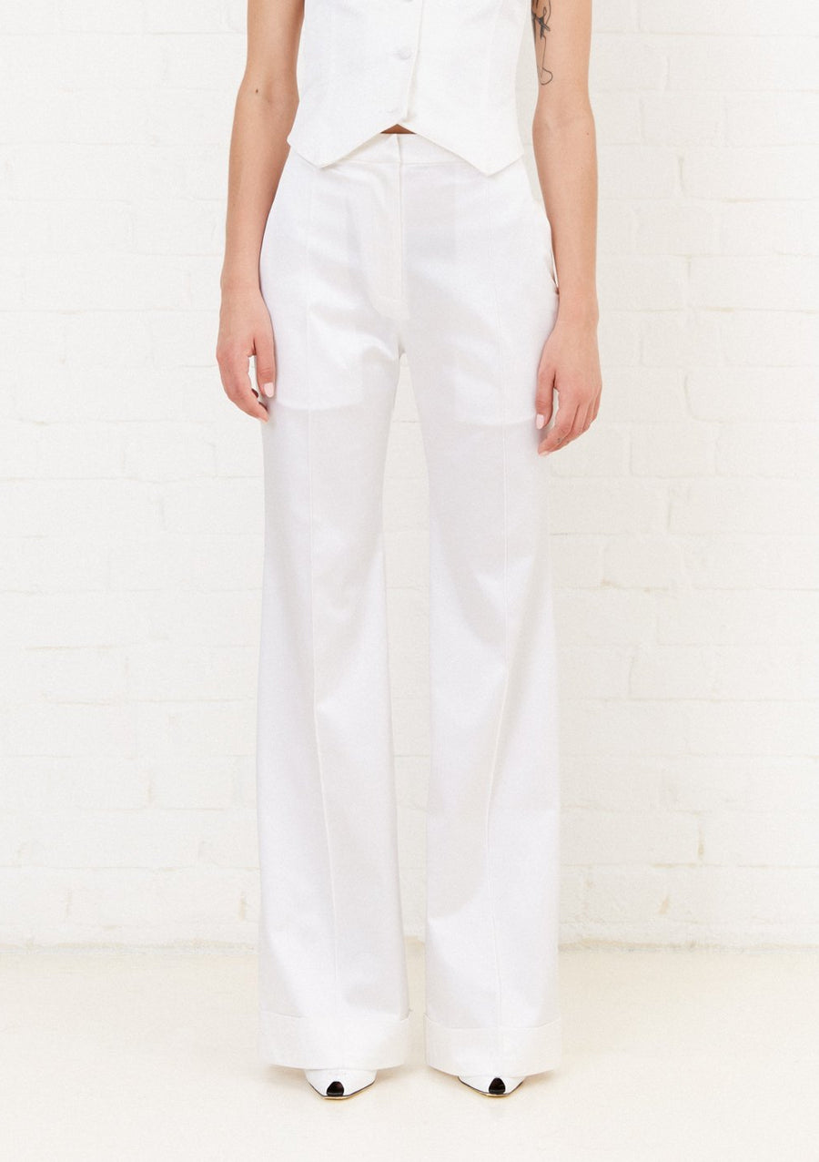 White Satin Tailored Flared Trouser