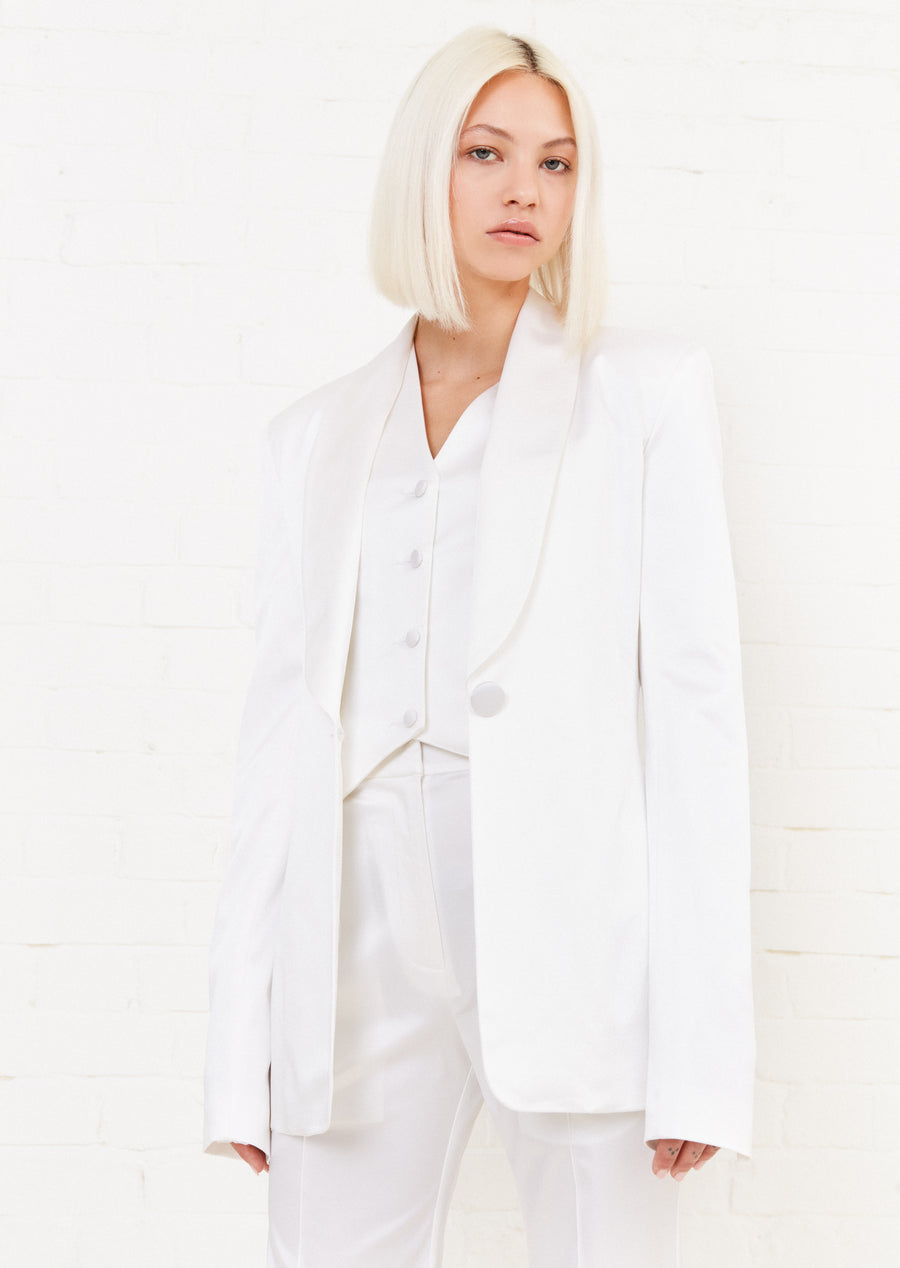 White Satin Tailored Jacket