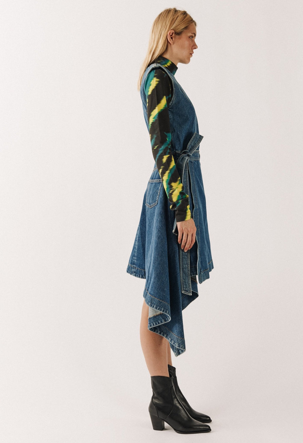 Folded Denim Dress