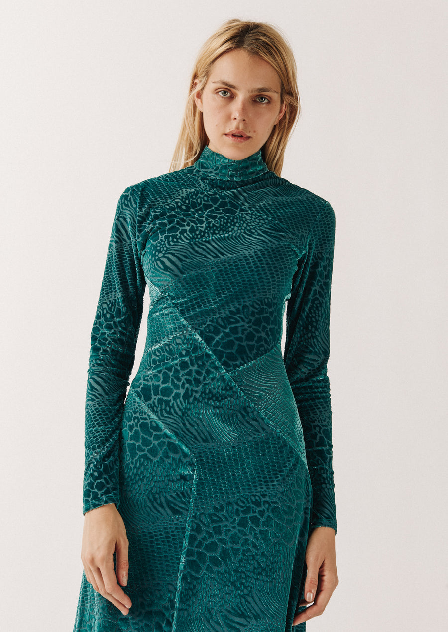 Snake Devore Asymmetric Dress