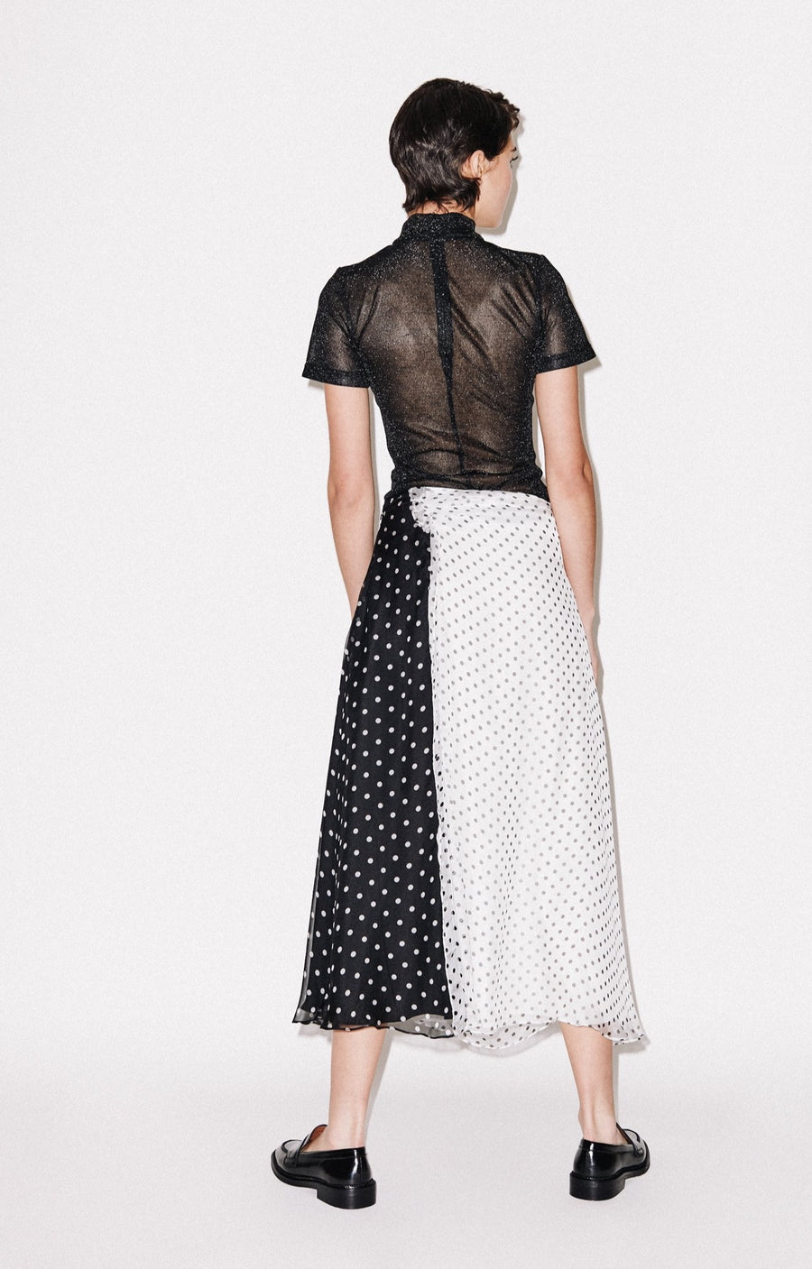 Polka Gathered Midi Skirt