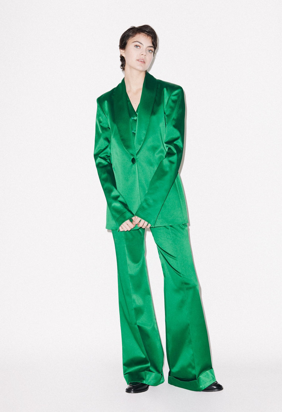 Green Satin Tailored Jacket