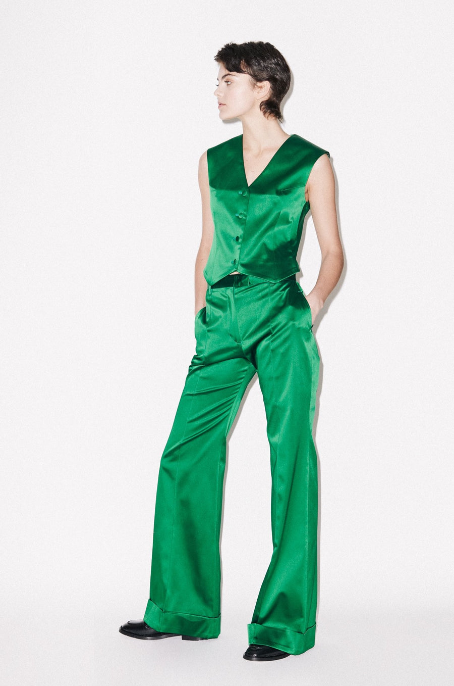 Green Satin Tailored Flared Trouser