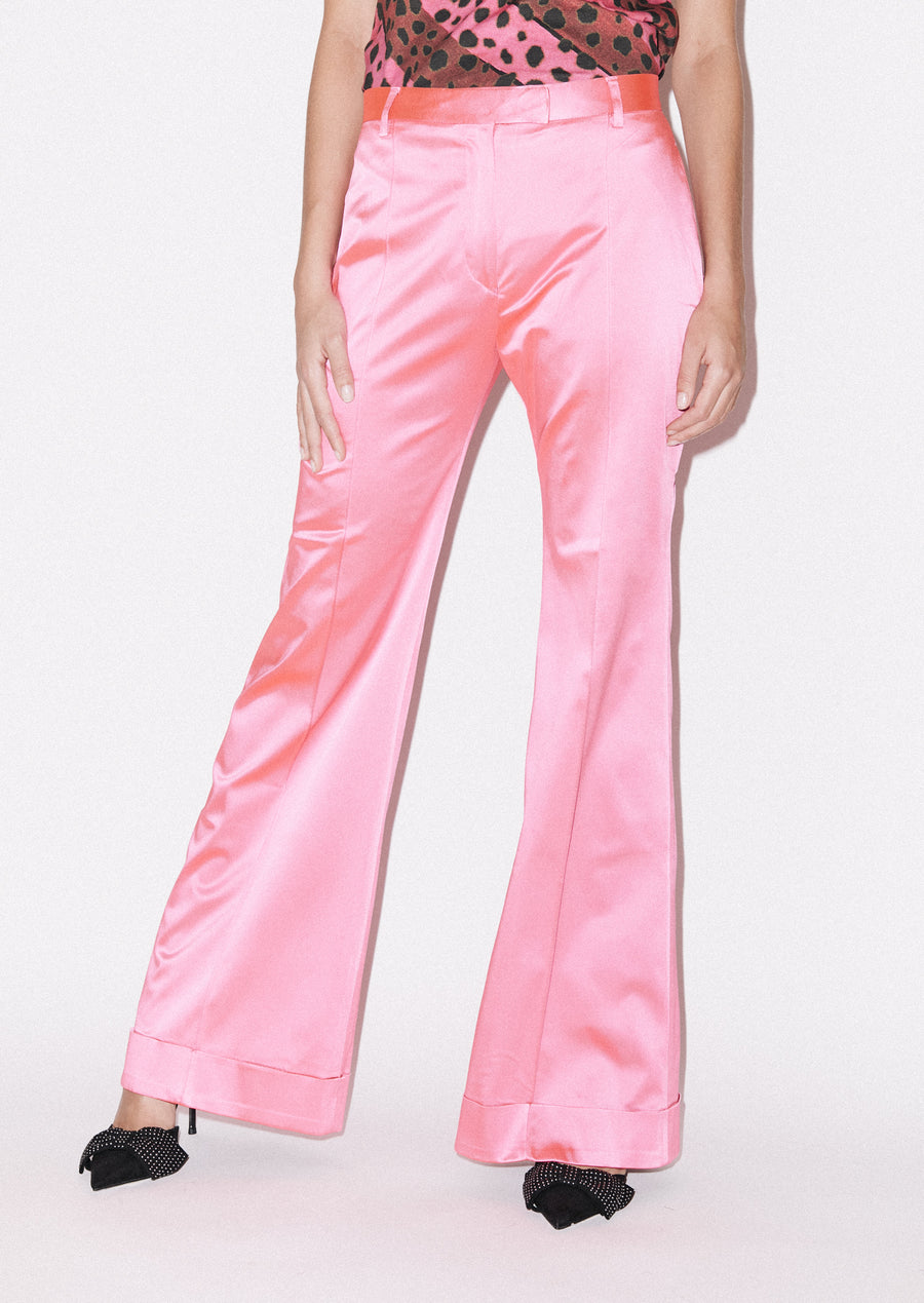 Pink Satin Tailored Flared Trouser