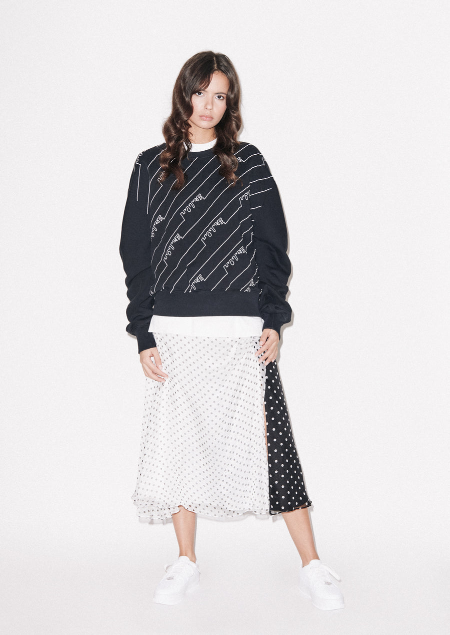 Gathered Sleeve Mono Sweatshirt