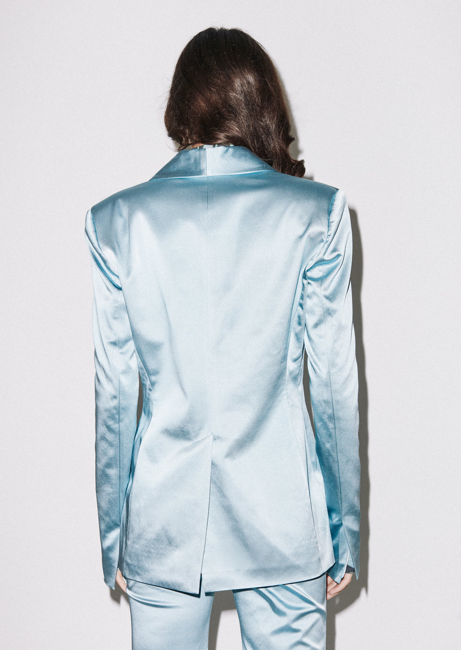 Blue Satin Tailored Jacket