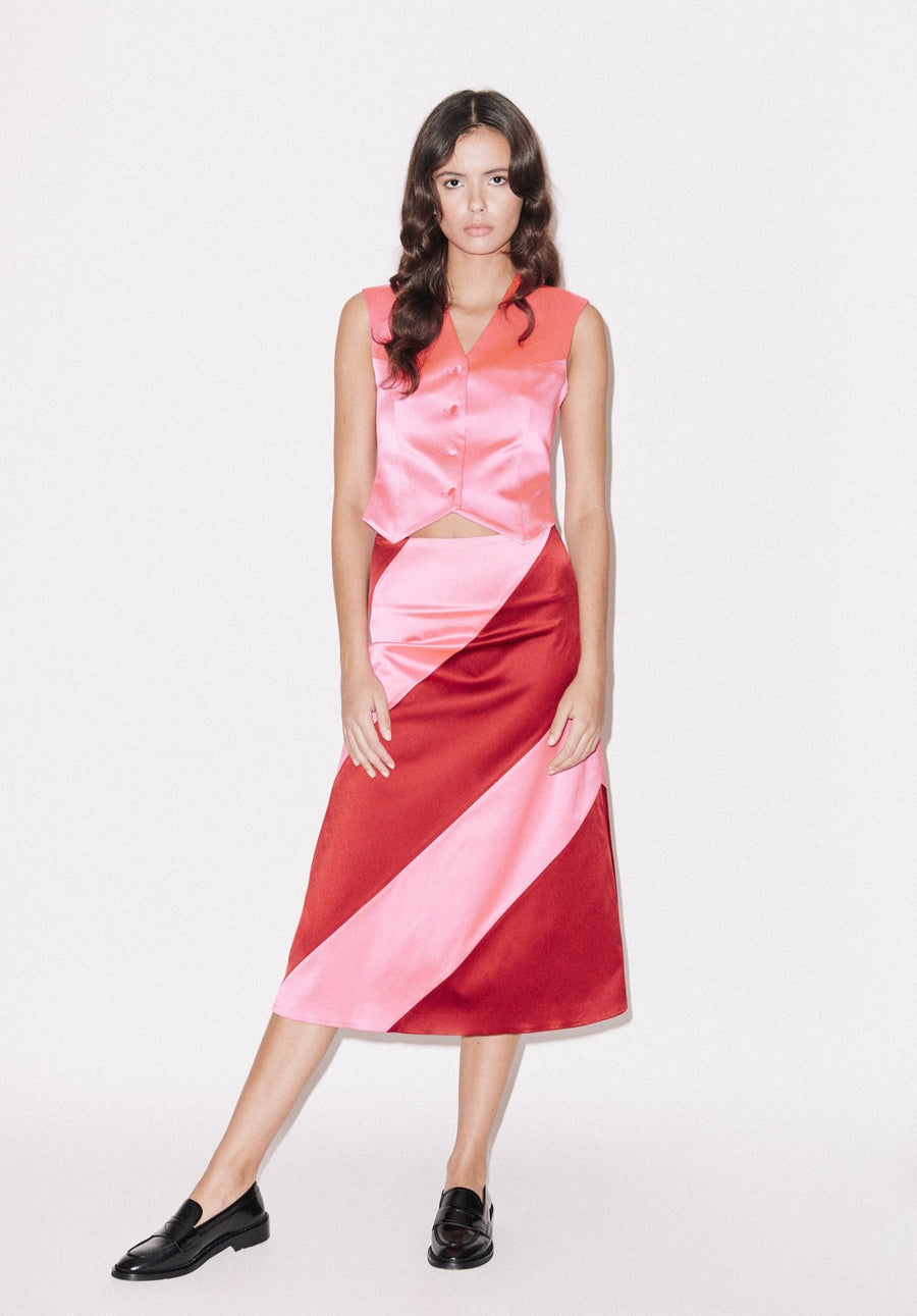 Bright Panelled Satin Midi Skirt