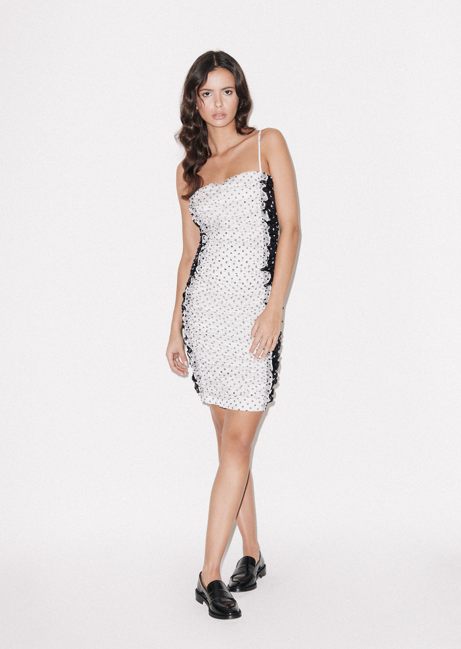 Bodycon Polka Gathered Dress