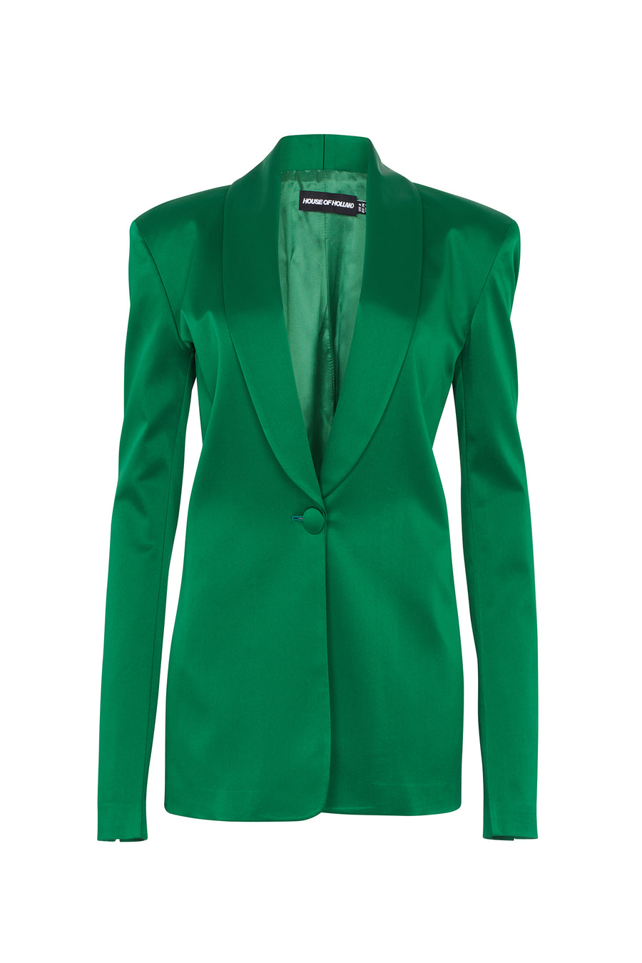 Grüne Satin Tailored Jacke