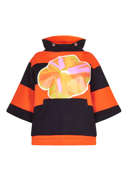 Irvin Stripe Hooded Sweatshirt With Flower Graphic