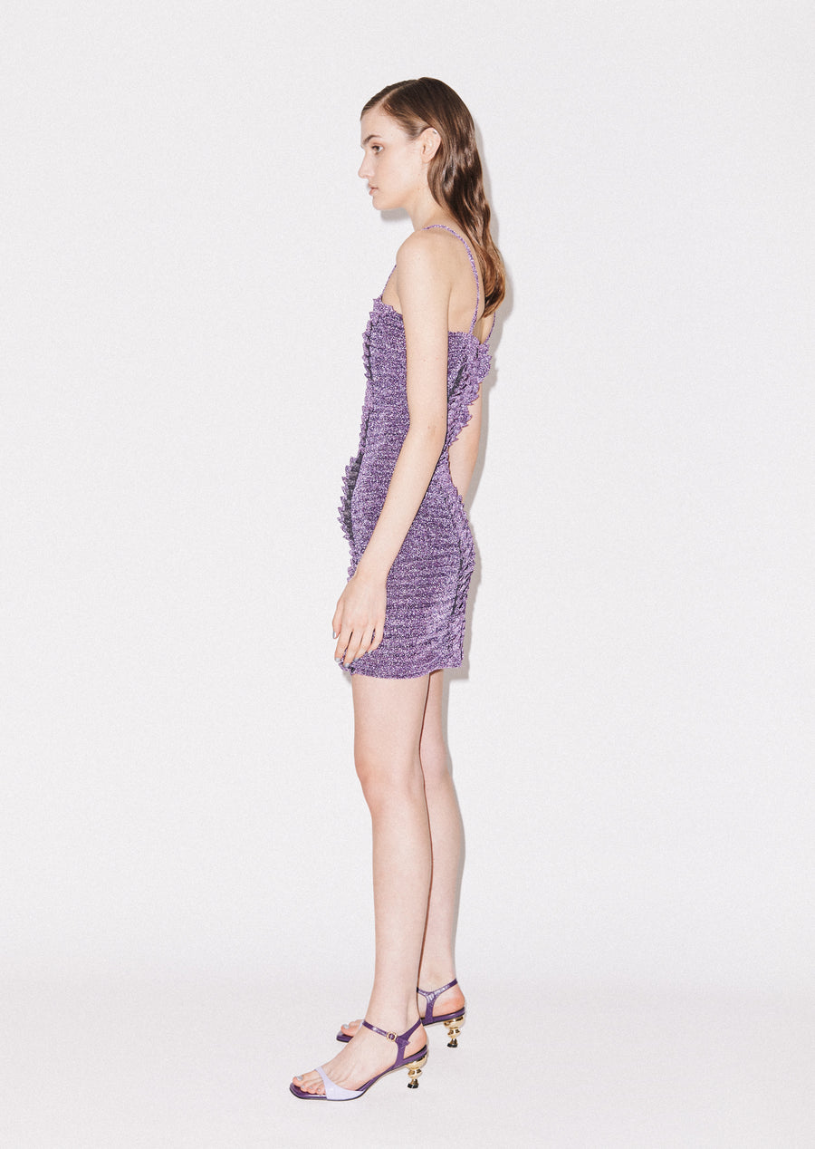Gathered Lurex Mini Dress