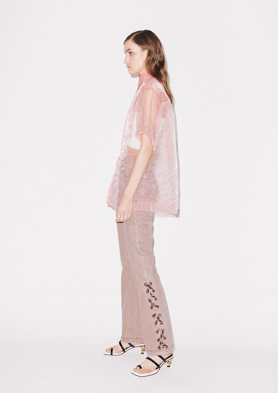 Sheer Pink Boxy Shirt