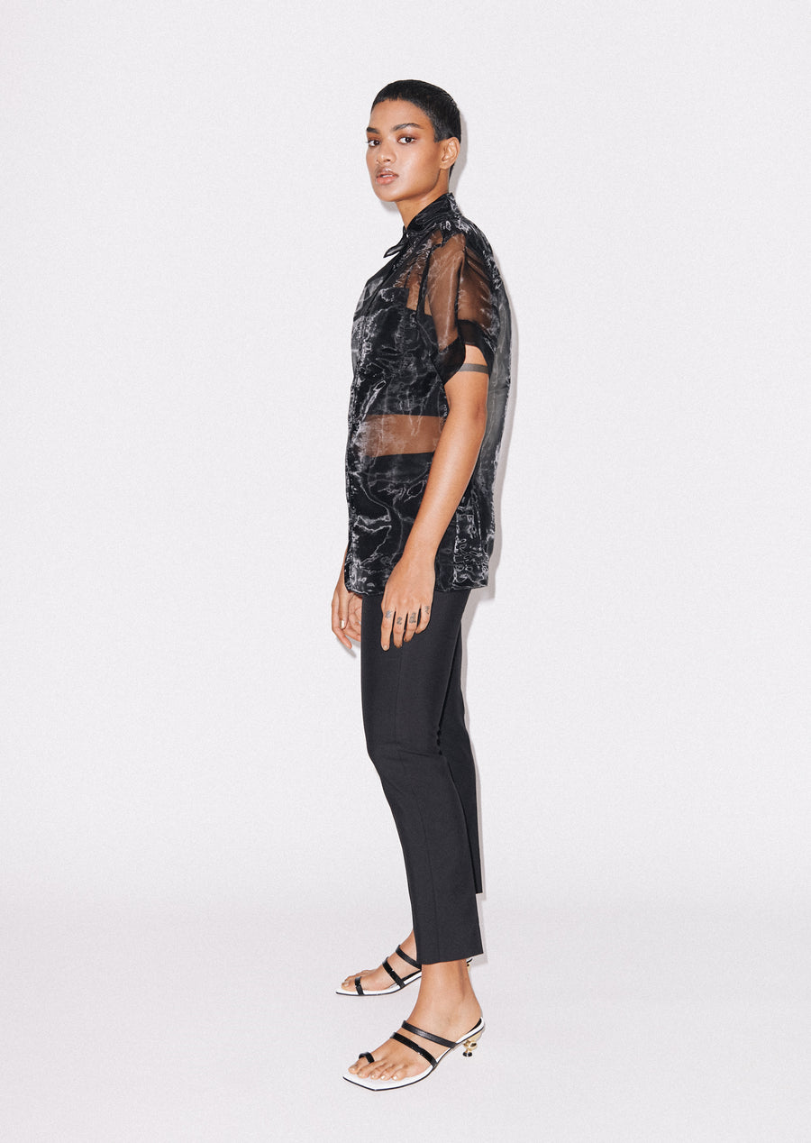 Sheer Black Boxy Shirt