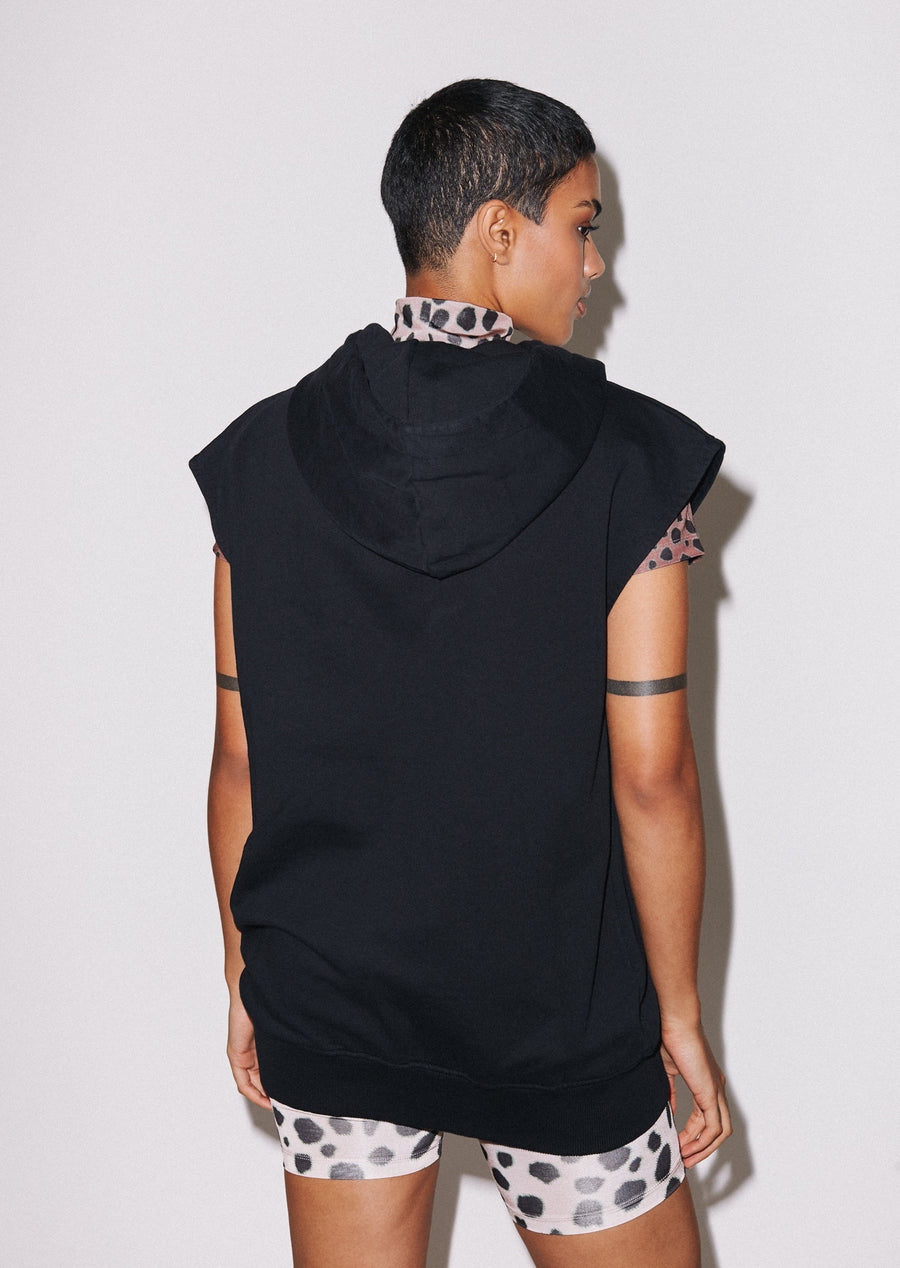 'Hey There' Longline Sleeveless Hoodie