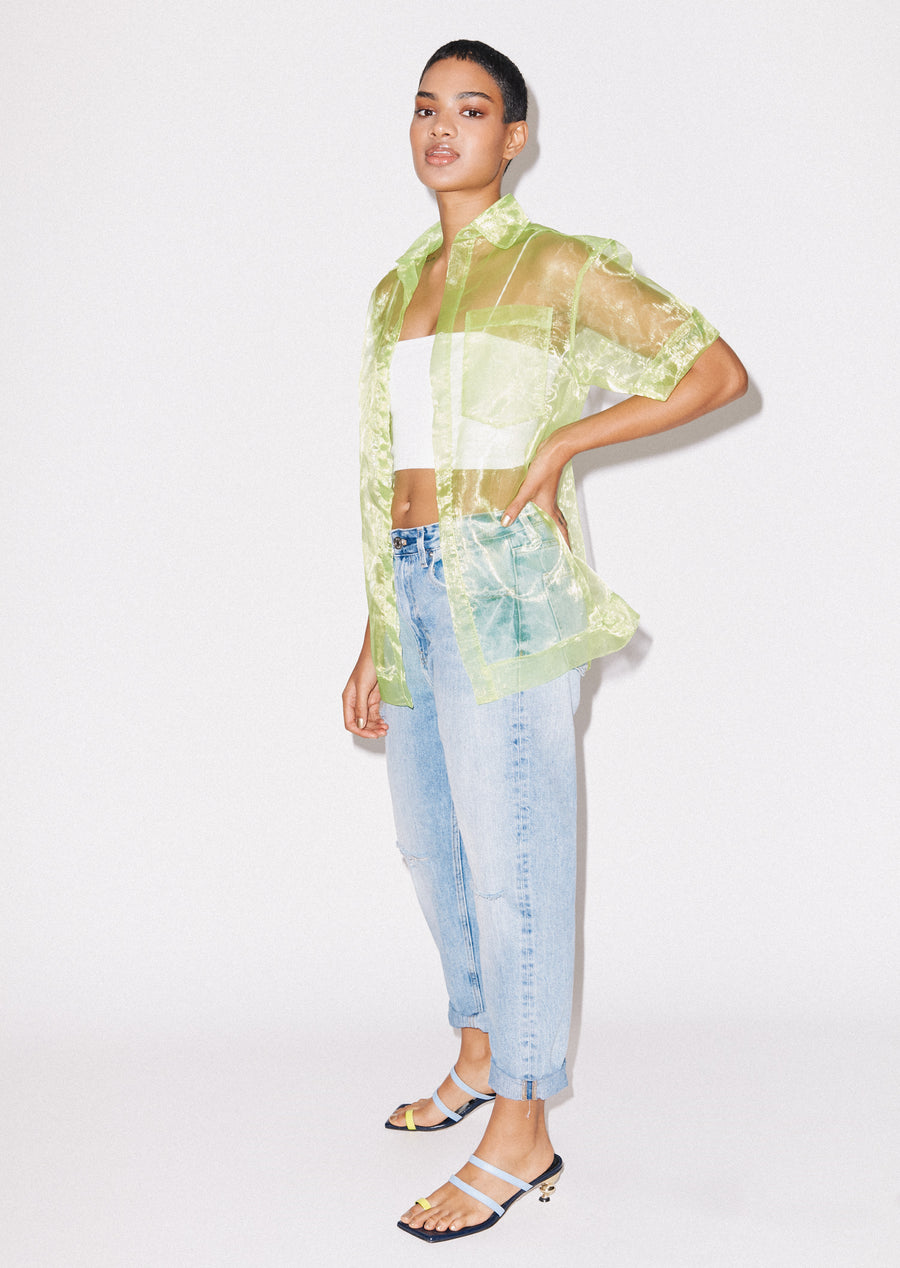 Sheer Lime Boxy Shirt
