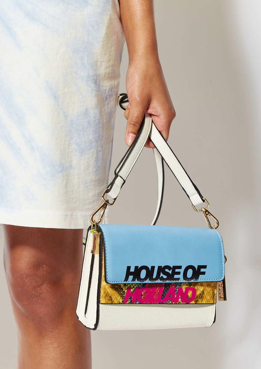 House of Holland contrast logo bag with snake insert and chain in multi