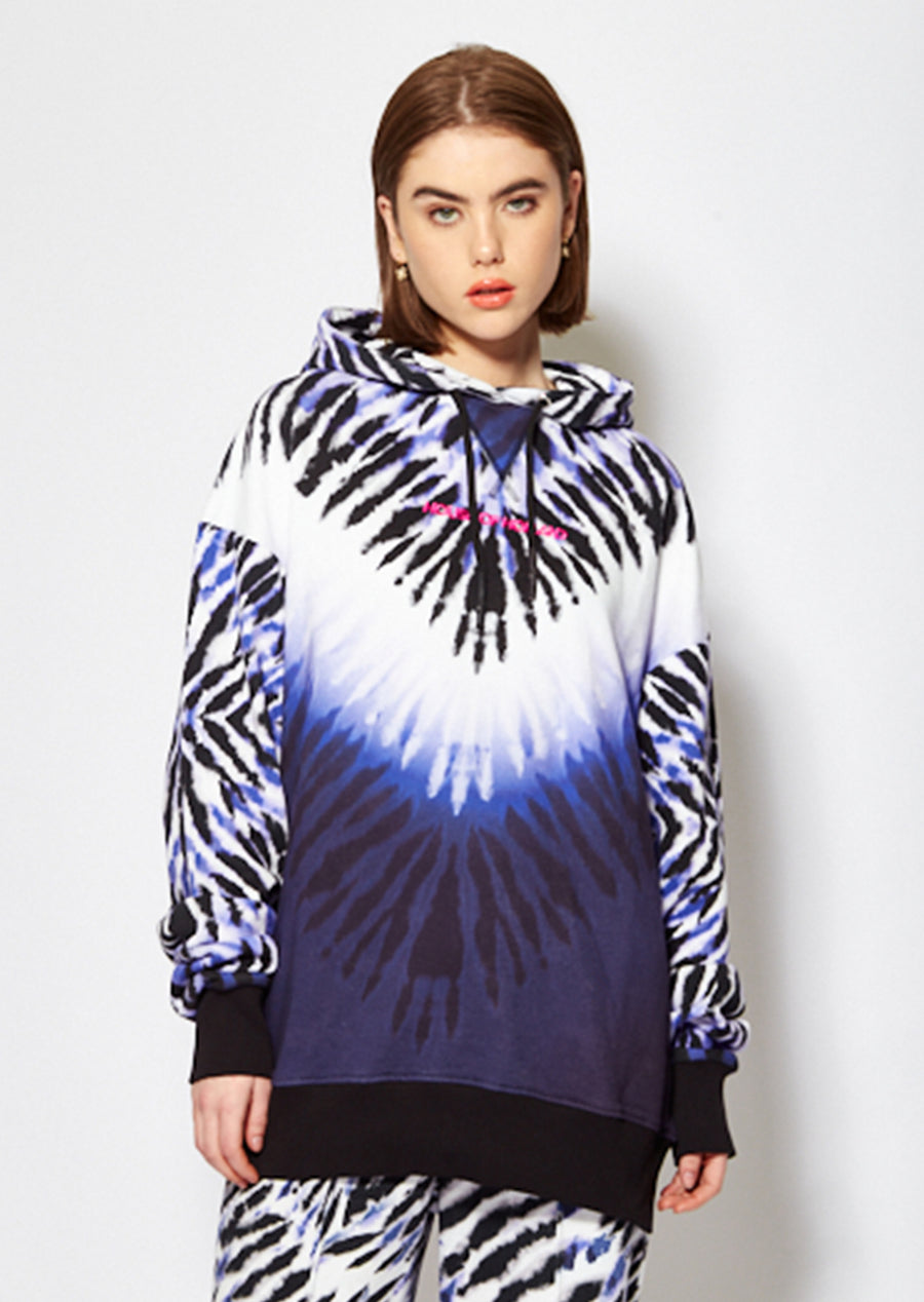 House of Holland purple and white tie dye zebra print hoodie