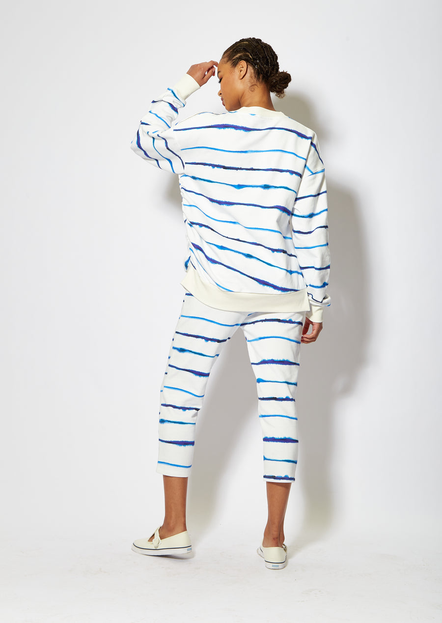 House of Holland blue ink stripe sweatshirt with zip detail