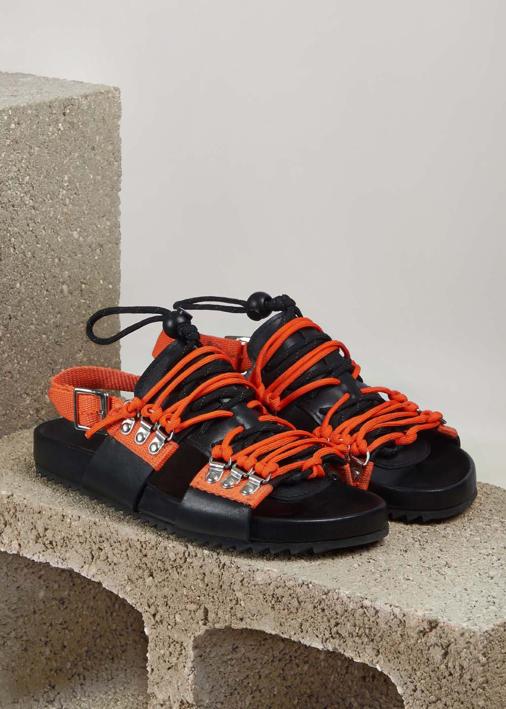 'Willa' Leather Sandal (Black and Orange)